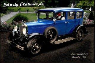 Historisches Hochzeitsauto mieten: Adler-Favorit-Oldtimer-Baujahr-1931 (Oldtimer Vermietung Sachsen)