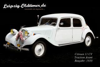 Mietwagen Oldtimer: Citroen 11CV Traction Avant Baujahr 1950.  (Oldtimer Vermietung Delitzsch)