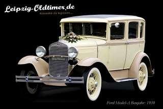 Historisches Hochzeitsauto mieten: Ford Model-A Fordor Oldtimer Baujahr 1930 (Oldtimer Vermietung Sachsen)